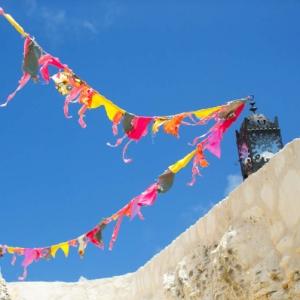 Bajacu Bohemian fabric flags blue sky