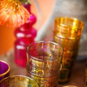 Bajacu Bohemian Turkish tea glasses and protea