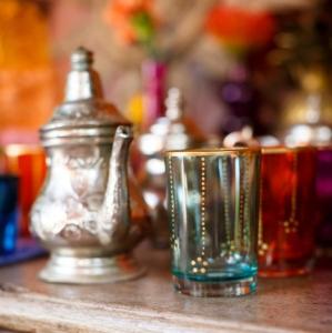 Bajacu Bohemian Turkish tea glasses and silver teapot