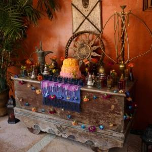 Bajacu Bohemian Turkish tea antique Trunk set up