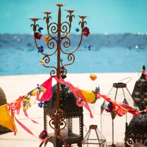 Bajacu Bohemian antique metal candelabra and lanterns