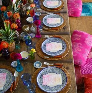 Bajacu Bohemian tablescape floor seating