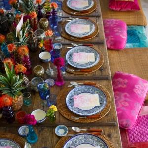 Bajacu Bohemian tablescape floor cushions