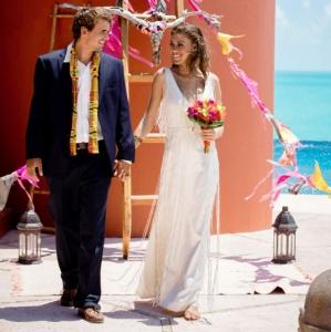 Bajacu Bohemian Ceremony newlyweds look