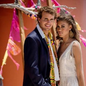Bajacu Bohemian bride and groom Turks and Caicos