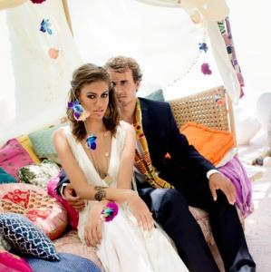 Bajacu Bohemian Daybed bride and groom