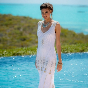 Bajacu Bohemian beaded sheath gown
