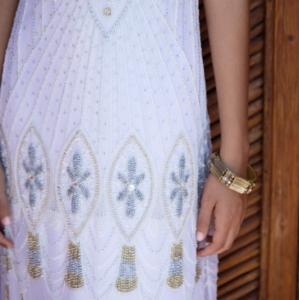 Bajacu Bohemian beaded sheath gown detail
