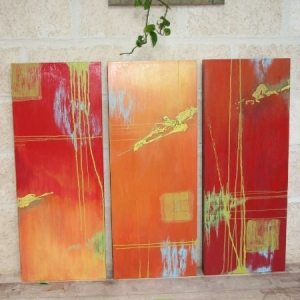 Commissioned abstract triptych