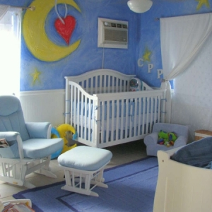 Twin Boys Nursery Murals based on book illustration
