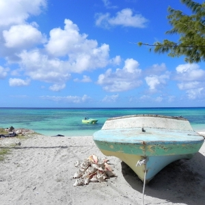 Grand Turk Beached Boat and Conch