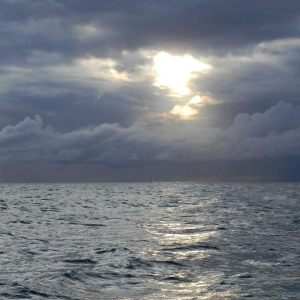 Steel blue sea and skies