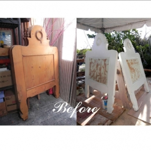 Pair of secondhand headboards before