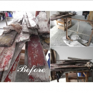 Haitian sloop wreckage reclaimed wood and metal frame before
