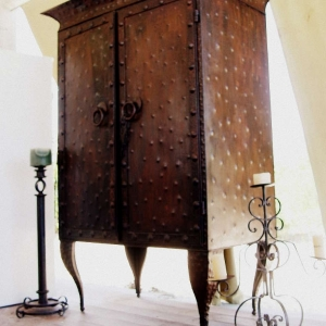 Metal archival of antique armoire