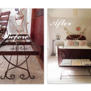 Metal coffee table/bench frame before and after
