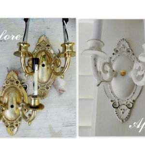 Brass sconces before and after