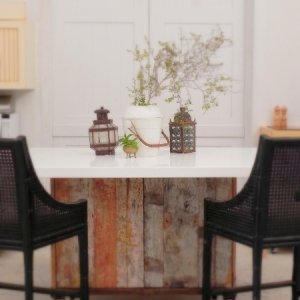 Longbay Beach Barn reclaimed wood kitchen island