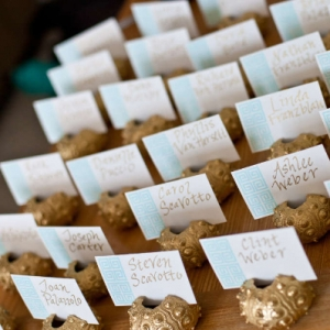 Footprints Villa Wedding Reception Place cards