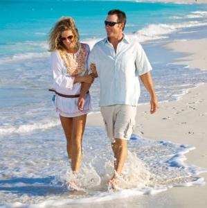 Resort couple beach