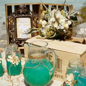 Well Read Rustic Wedding Styled Shoot Signature Drink Station