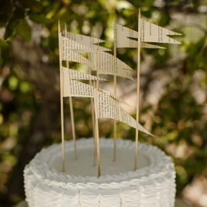Well Read Rustic Wedding Styled Shoot Ribbon Cake with Flag Details