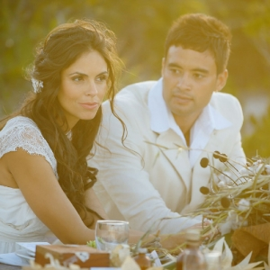 Well Read Rustic Wedding Styled Shoot Bride and Groom Sunset