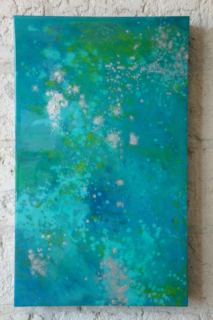 """Waterscape Abstract Painting No.3 18"""" x 30"""" x 2.5"""" $800"""