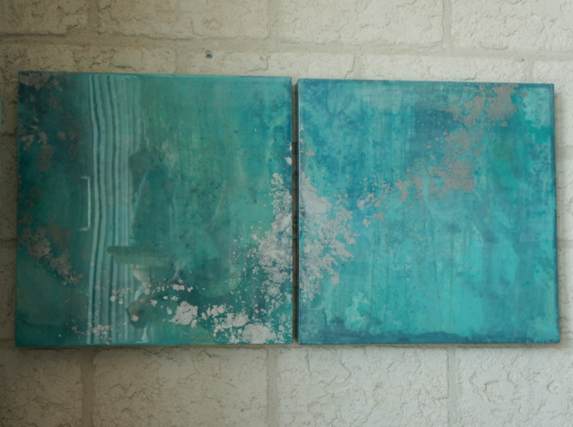 "Waterscape Abstract Paintings No.5 and No. 6, 24"" x 24"" x 2.5"" $1,000 pair, $600 individually"