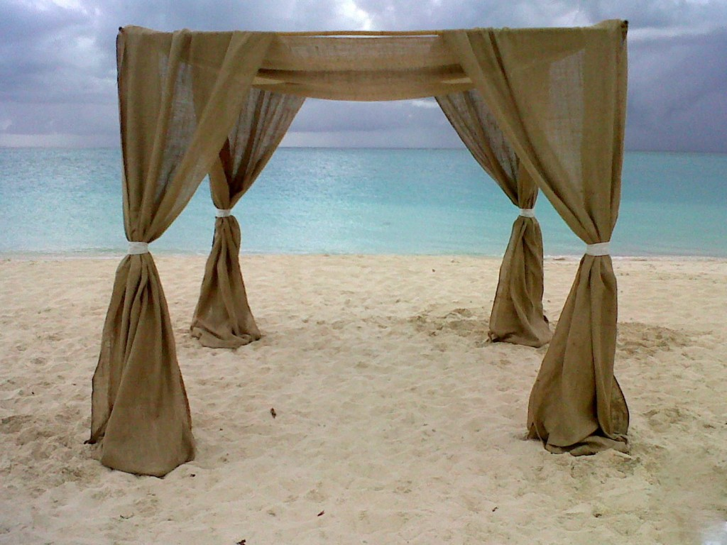 Burlap draping for wedding ceremony arch