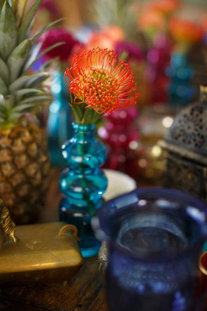 Bajacu Bohemian Pineapple and Protea tablescape