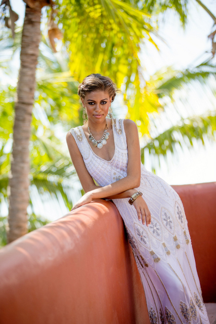 Bohemian Bridal Beaded Sheath gown from Luella's Boutique