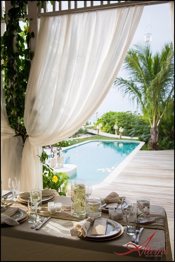Melissa and Joe's wedding at Saving Grace Villa, pool leading out to beach