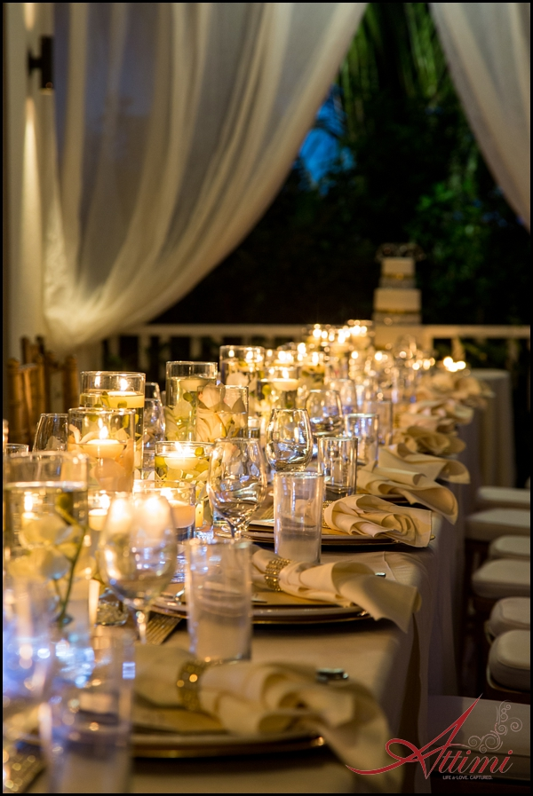 Melissa and Joe's wedding at Saving Grace Villa, candelit reception tablescape