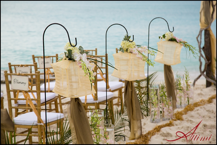 Melissa and Joe's wedding at Saving Grace Villa, gold palette beach side ceremony